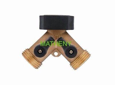 Brass 2-Way Y Water Hose Connector ~ Two-Way Metal Garden Splitter On/Off Valve