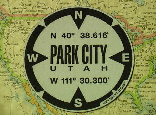 Park City, Utah GPS Magnet - Reflective Vinyl GPS Marker Magnet
