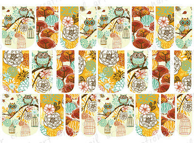 24 WATER SLIDE NAIL ART DECALS * AUTUMN / FALL OWL ASSORTMENT* FULL NAIL COVERS  - Falls Water Slide