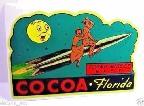 Cocoa Fla. Missile Base Vintage Style Travel Decal / Vinyl Sticker,Luggage Label
