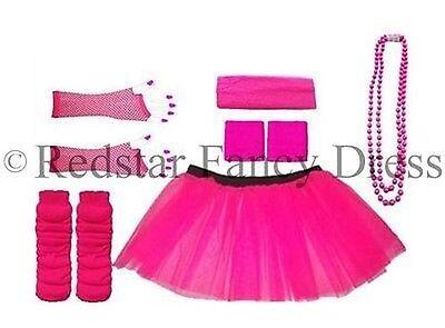 Neonrosa Tütü Rock Beinwärmer Fischnetz Handschuhe Kopf - Rosa Kostüm Handschuhe