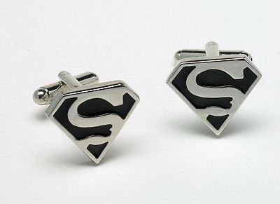 NEW Superman Cuff Links  S LOGO Novelty Cufflinks in a gift box 10162