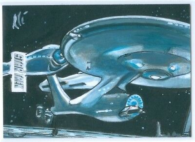 Enterprise  Sketch Card By Lee Lighfoot  Star Trek Beyond