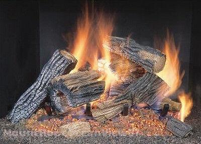Vented Natural Gas Fireplace Log Set Insert 18  Logs Oak 50 000 Btu Burner Fire