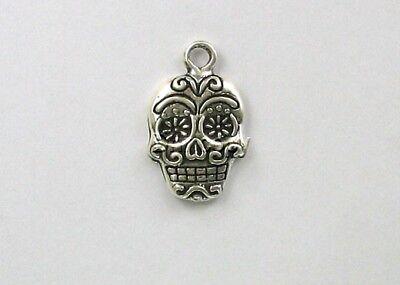 Sterling Silver Sugar Skull Charm
