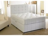 "SAME DAY QUICK DELIVERY! Brand New Double Divan Bed With 10"" White Orthopedic Mattress"