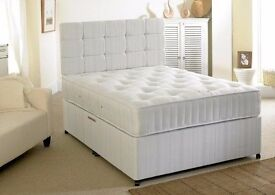 BRAND NEW DOUBLE OR SMALL DOUBLE DIVAN BED WITH WHITE ORTHOPAEDIC MATTRESS