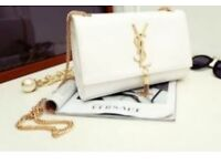 NEW YSL CASSANDRE LEATHER CLUTCH BAG GOLD CHAIN