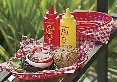 Barbecue BBQ Serving Set 4 Hamburger Hot Dog Baskets 12 Liners 2 Dispensers C33