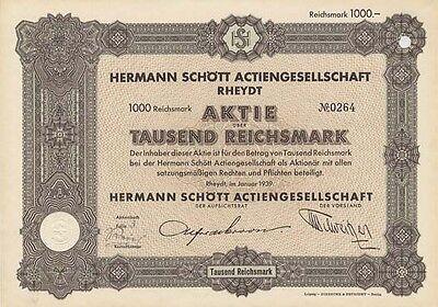 Herrmann Schött AG Rheydt historische Aktie 1939 Mönchengladbach Druckerei NRW
