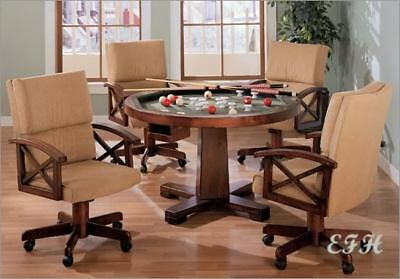 NEW 3 In1 CHERRY GAME DINING TABLE w/ 4 ARM CHAIRS SET CASTERS BUMPER POOL POKER Contemporary Set Game Table