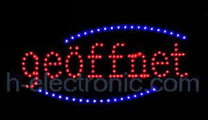 LED Schild neon Leuchtreklame geöffnet Open Schilder Werbung Offen Animation