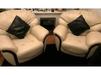 2 Cream Leather Armchairs