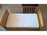 Cot bed, changing table dresser, undercot drawer, coat hook
