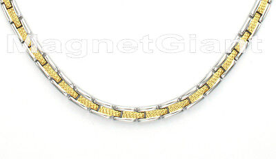 Two tone magnetic stainless steel 316L links necklace (18, 19, 20, 21, 22 inchs) Stainless Steel Magnetic Link Necklace
