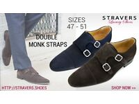 Formal men's shoes small size 3, 4, 5, 6 large sizes 12, 13, 13.5, 14, 15, 16 - Double Monk Straps
