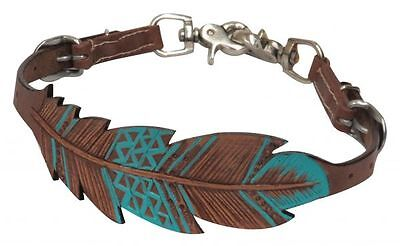 Showman PONY sz Teal Painted Cutout Feather Leather Saddle Wither Strap 2 Snaps