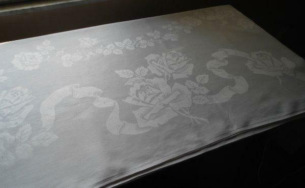 Vintage Irish Linen Double Damask Banquet Tablecloth Ribbons Roses 102""