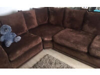 Brown large corner sofa