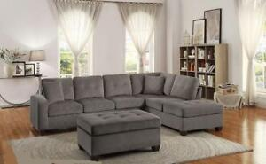 New in Boxes!!!  Reversible Taupe Sectional Only $899 *Layaway Available* Ottoman Sold Separately