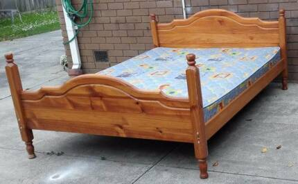 solid timber frame queen bed with mattress