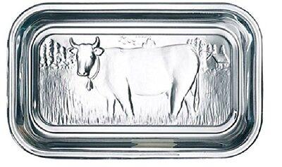 Storage Glass Embossed Cow Design Lid Butter Dish dairy kitchen fridge