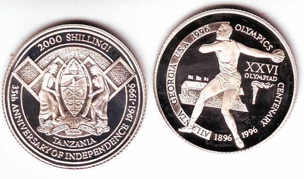 Ex.Rare 1996 Tanzania Piedfort 2000s pattern Olympic Discus T2