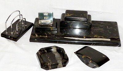 Alte Art Deco Schreibtischgarnitur Marmor 30er Jahre Deko Büro Schreibtisch Set