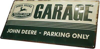 John Deere Parking Only Traktor Trecker geprägt 50x25 Blechschild Vintage XXL16 (John Deere Parking)