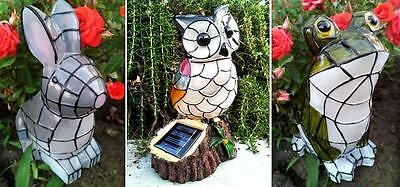 Outdoor Garden Decor Solar Mosaic Animal Statue Bunny/Frog/Owl Landscape Light