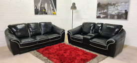 Designer Black 3&2 Italian Leather Sofa Set - Only £299!!