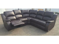 New Double Recliner Leather Corner Sofa Suite, Ready for free next day delivery