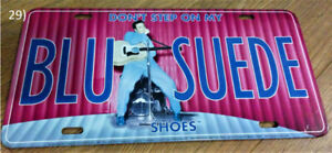 "Elvis Presley ""BLU SUEDE"" Blue Suede Metal License Plate Sign"