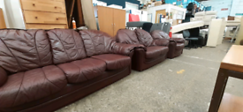 Ox red leather sofa set