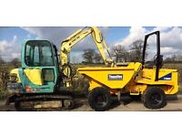 Mini digger and driver hire