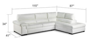 Sectional white leather sofa