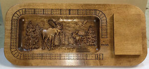 Wood Carved Moose Scene Custom Cribbage Board w/card holder