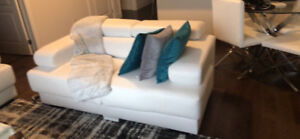 Leather Love Seat White