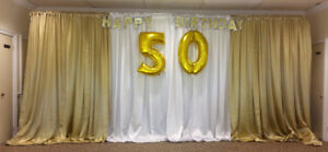 Backdrop Stand and Drapes Rental - $25