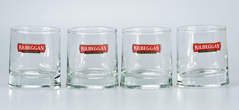 KILBEGGAN IRISH WHISKEY Promo Oval Shape  Set of 4 Glasses NEW