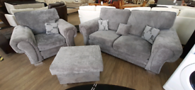 Chesterfield style 2seater and armchair with pouffe