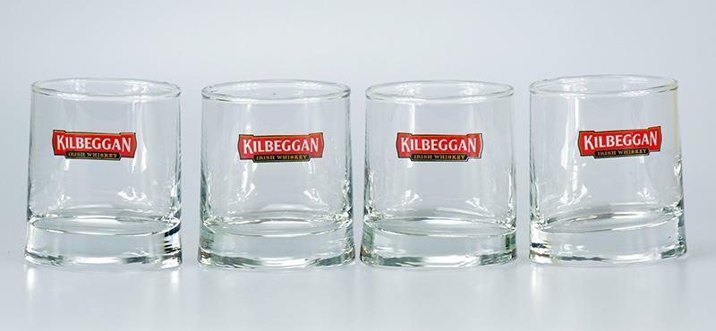 NEW KILBEGGAN  IRISH WHISKEY Promo Oval Shape  Set of 4 Glasses