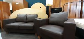 Brown faux leather 2seater sofa and armchair