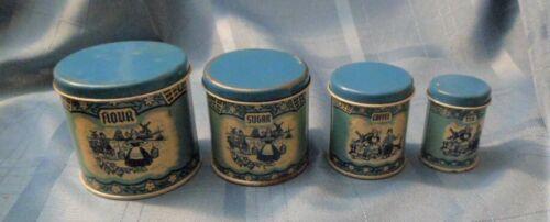 4 piece Vintage Childs Wolverine USA Delft Blue Canister set