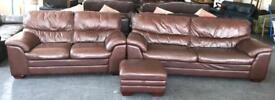 Brown Leather 3&2 Seater & Footstool Sofa Set.CAN Deliver