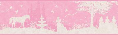 Pink & White Disney Princess Silhouette Toile Wallpaper Border ZB3432BD (Disney Princess Wallpaper Border)