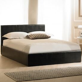 Double leather bed frame + free mattress £119