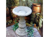 Large Stone Bird Bath in Reconstituted Limestone - Acanthus Design