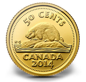 2014 50 cent pure gold coin Canada's Classic Beaver