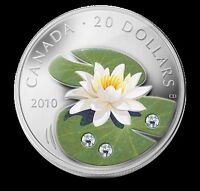 2010 $20 SILVER COIN- Swarovski Crystal WATER LILY-RETIRED!!!